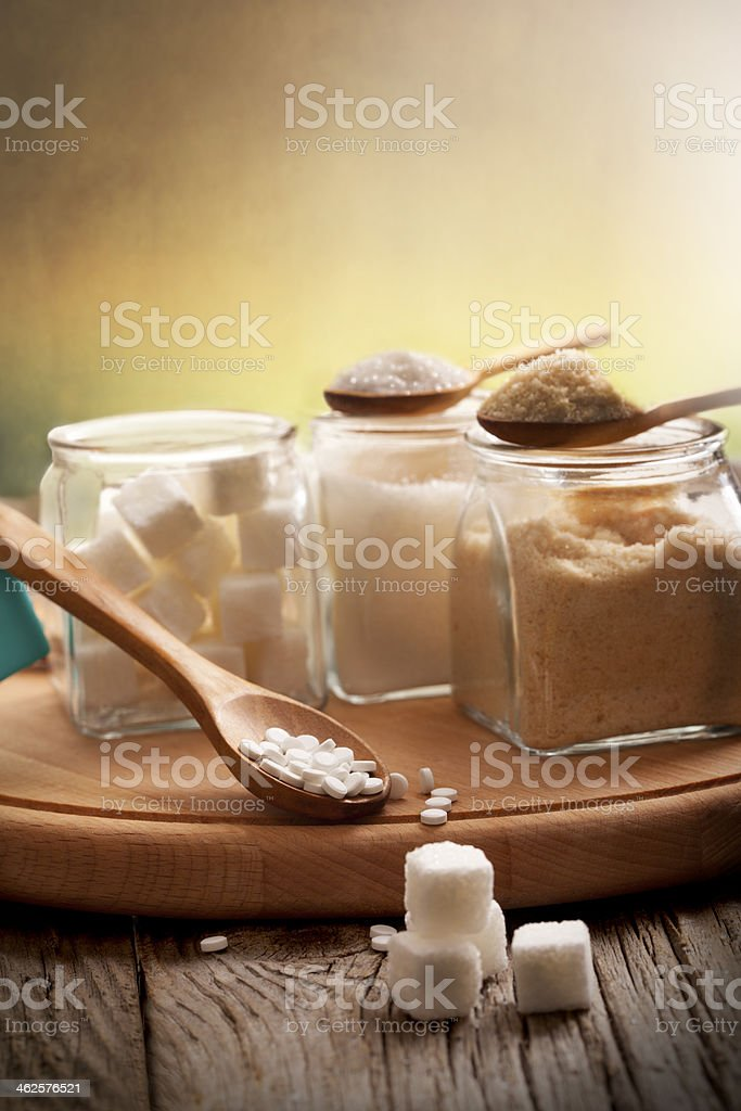 Sugar and spoon stock photo