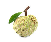 Sugar Apple with leaf (custard apple, Annona, sweetsop) isolated