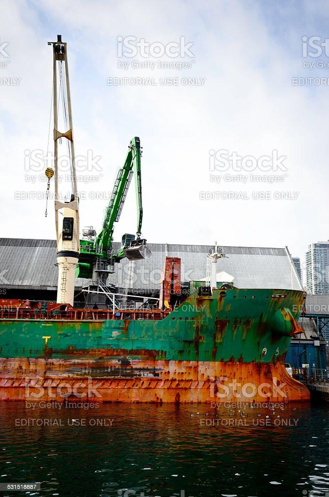 Sugar Boat Unloading royalty-free stock photo