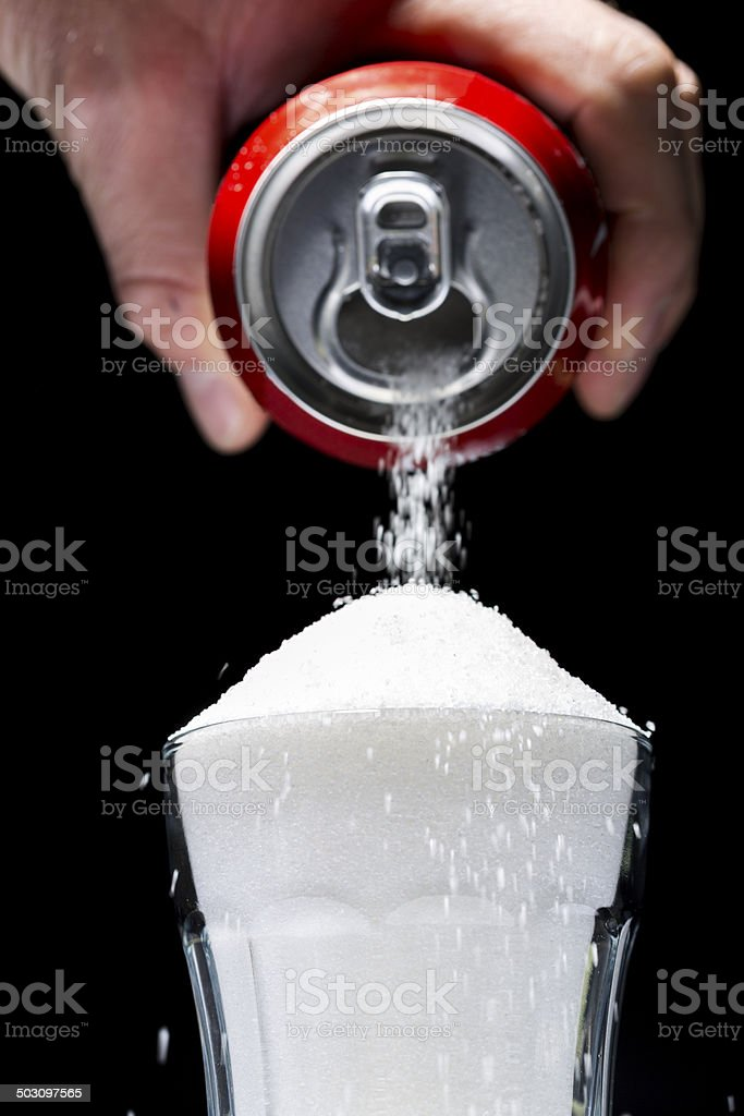 Sugar Can Pour stock photo