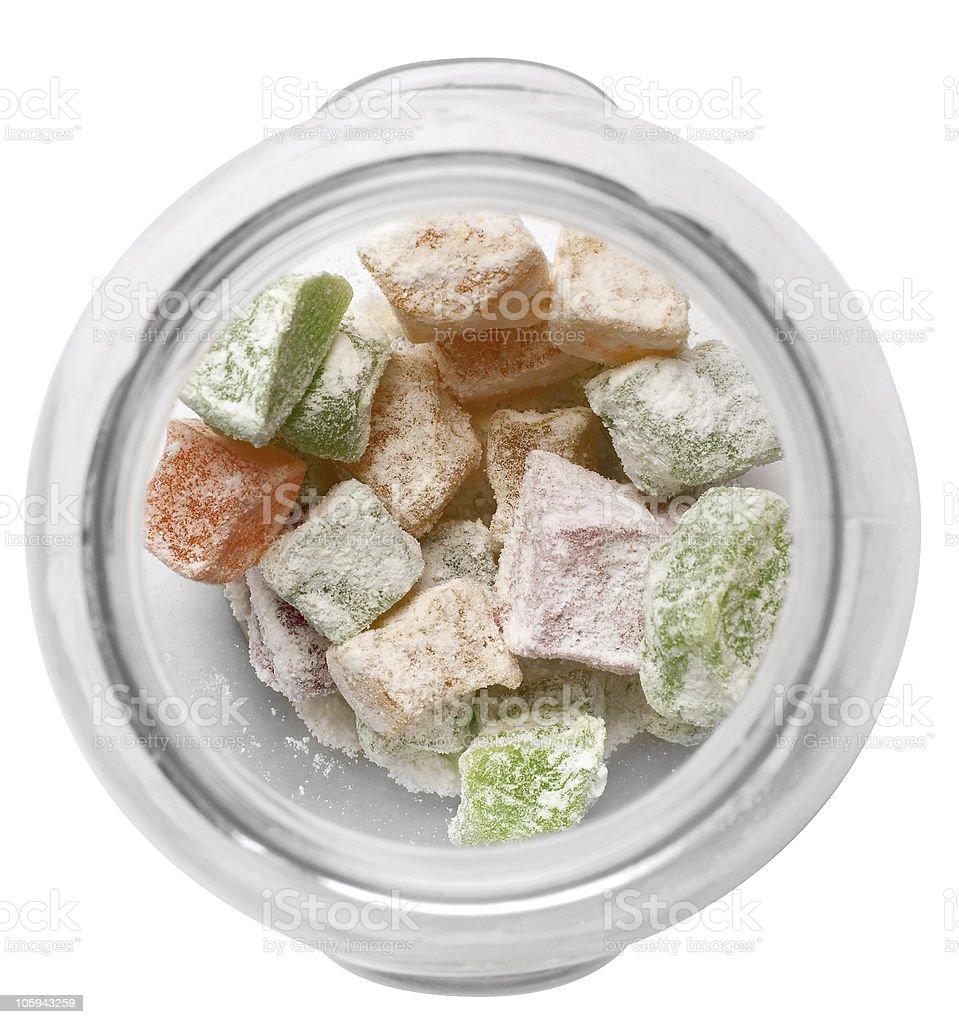Caramelo de azúcar en una cubeta de vidrio foto de stock libre de derechos