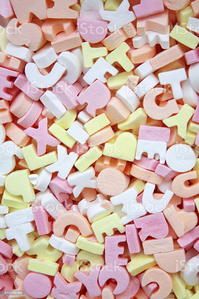 Sugar candy letters background stock photo
