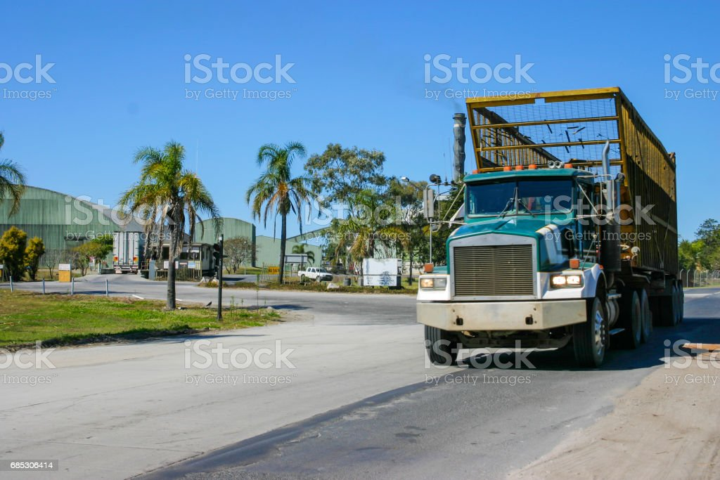 Sugar Cane Haulage Truck Leaving the Factory Mill stock photo