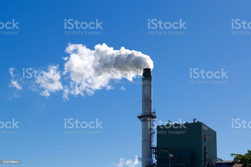 Sugar cane mill steam stack stock photo
