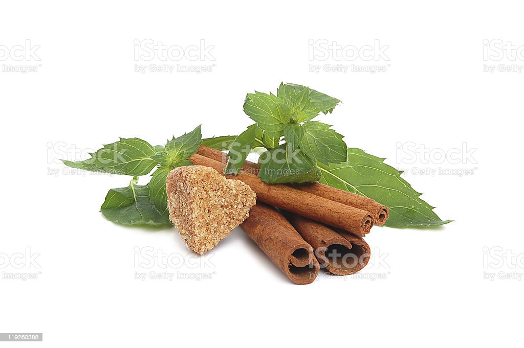 Sugar, cinnamon and mint royalty-free stock photo