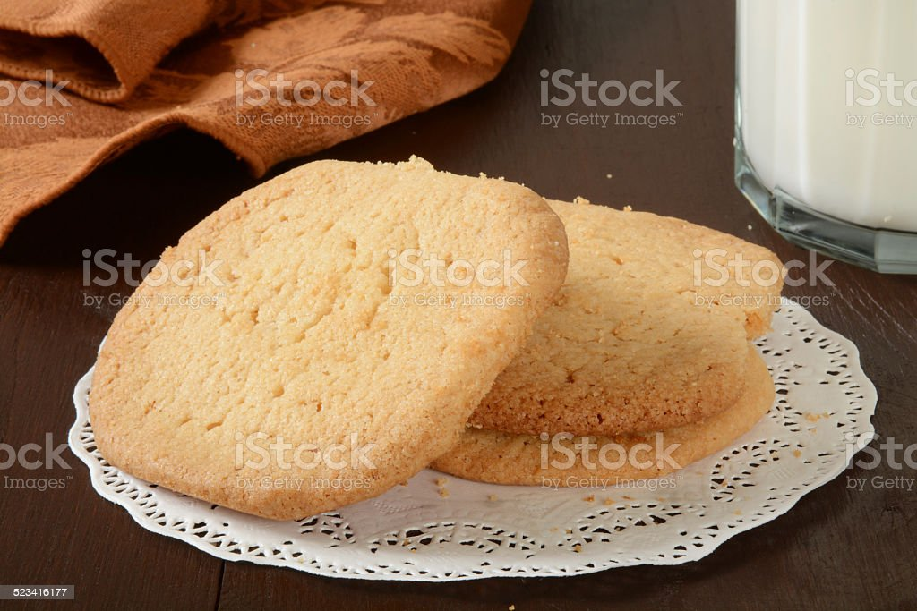 Sugar cookies and milk stock photo