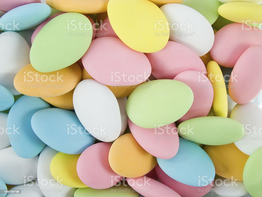 Sugar covered almonds. Traditional Easter sweet. royalty-free stock photo