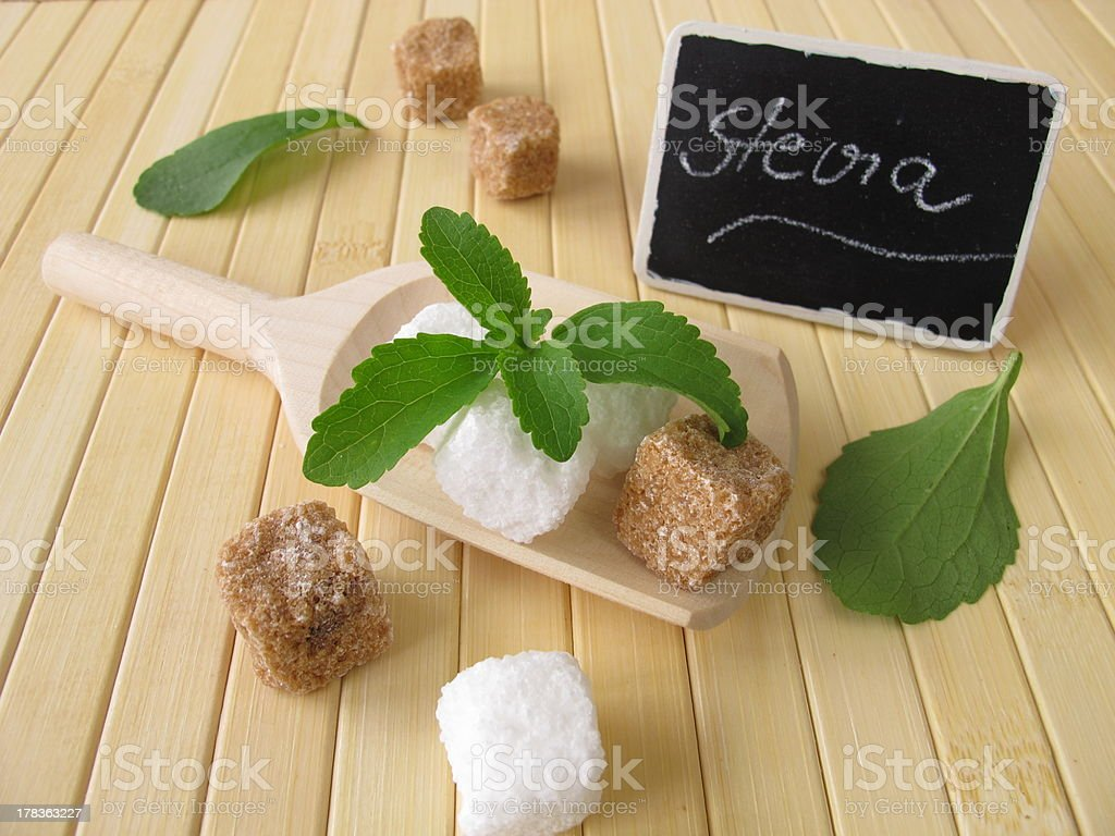 Sugar cubes and stevia with nameplate stock photo