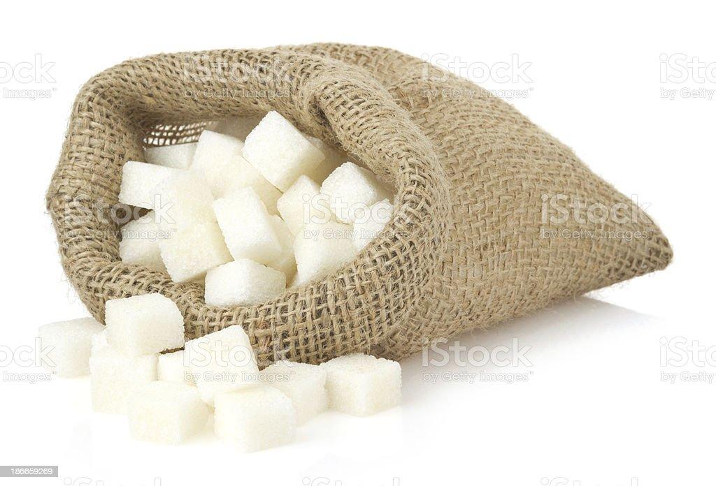 sugar cubes in bag sack royalty-free stock photo