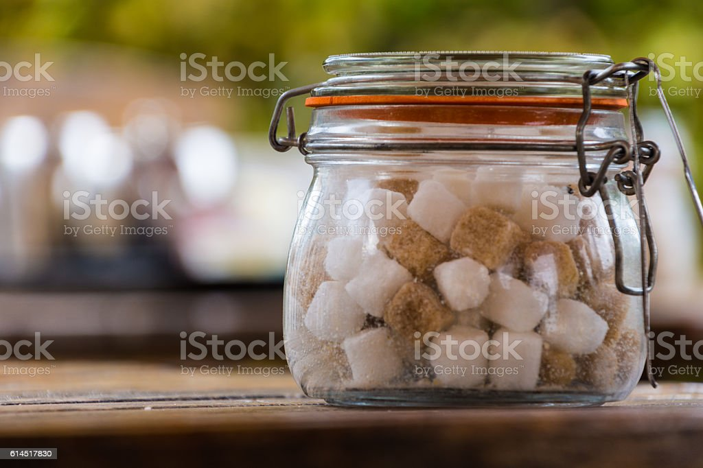 Sugar Cubes in Glass Jar stock photo