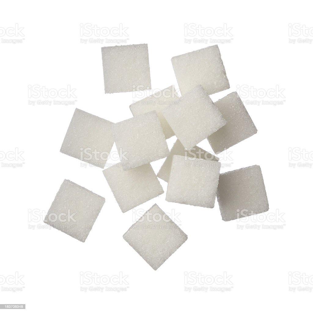 Sugar cubes on white background stock photo