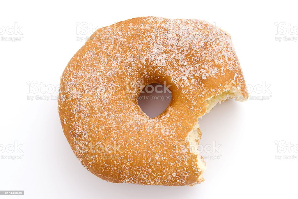 sugar donut high angle view bite missing stock photo