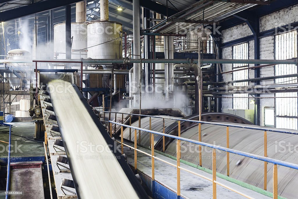 A Sugar factory containing machines stock photo