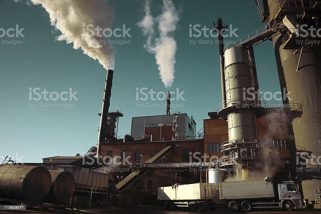Sugar factory from outside stock photo