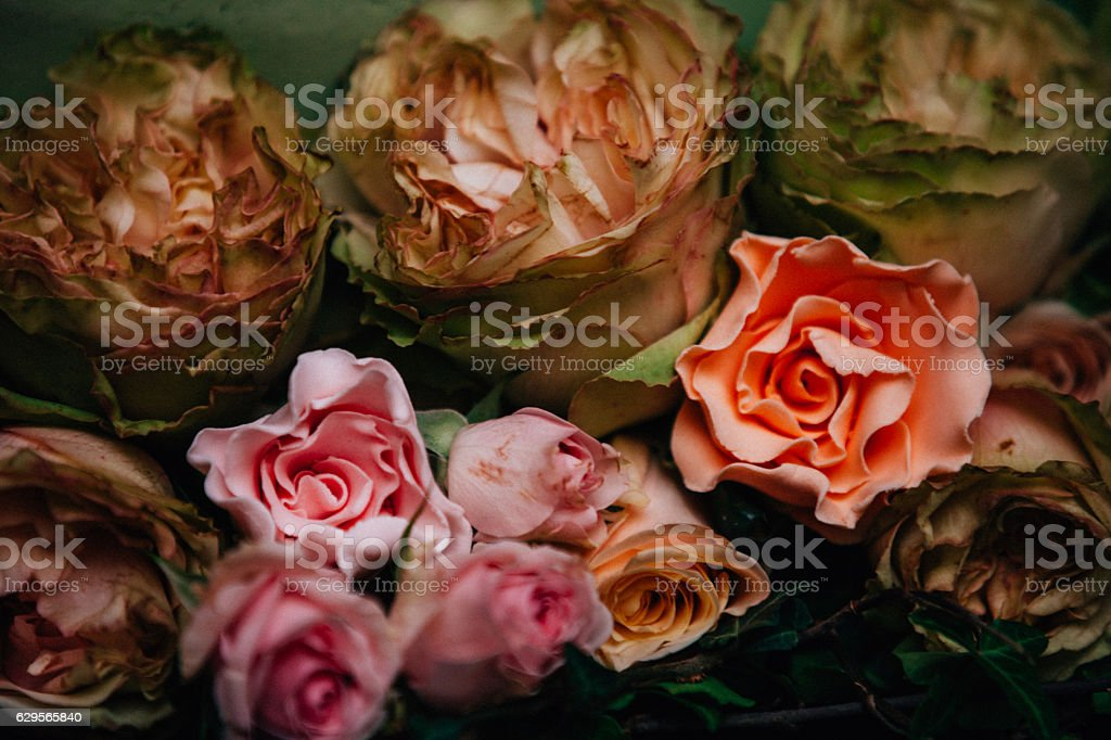 Sugar flowers for cake decorations stock photo