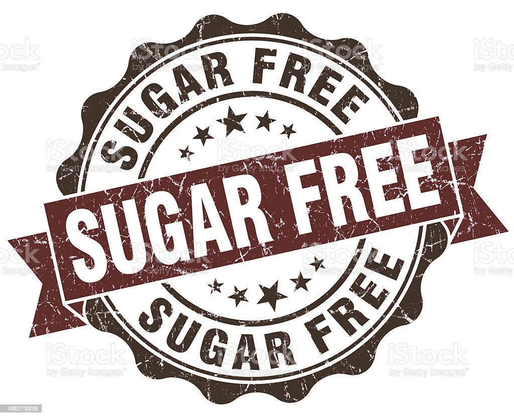 Sugar free brown grunge retro style isolated seal stock photo