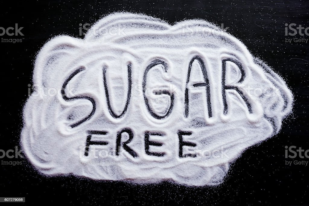 sugar free word stock photo