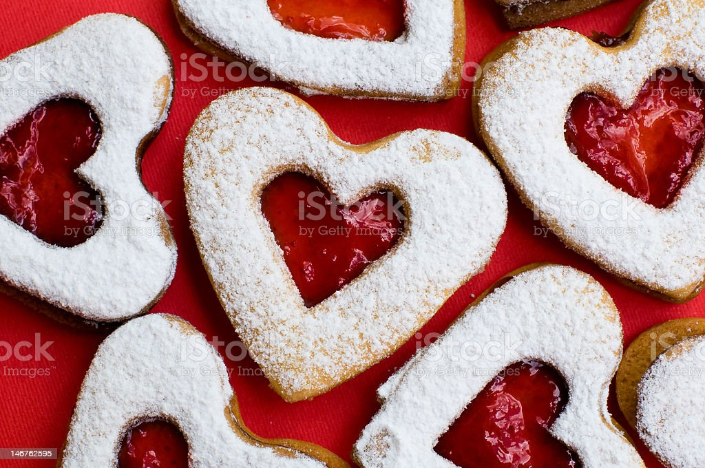 Sugar frosted heart shaped cookies stock photo