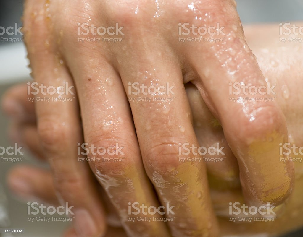sugar hand peeling stock photo