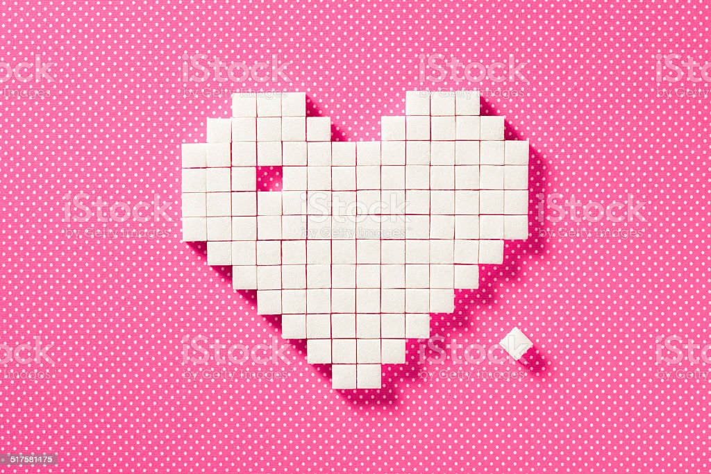 Sugar Heart - Cube Pixelated Pink Love Valentine's Day Background stock photo