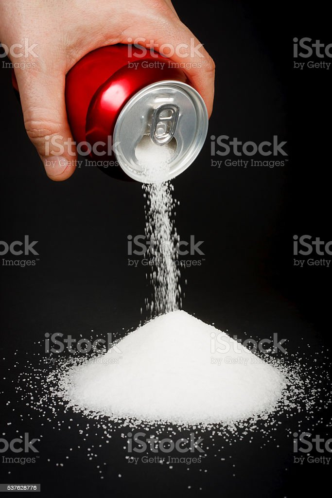 Sugar in carbonated drinks stock photo