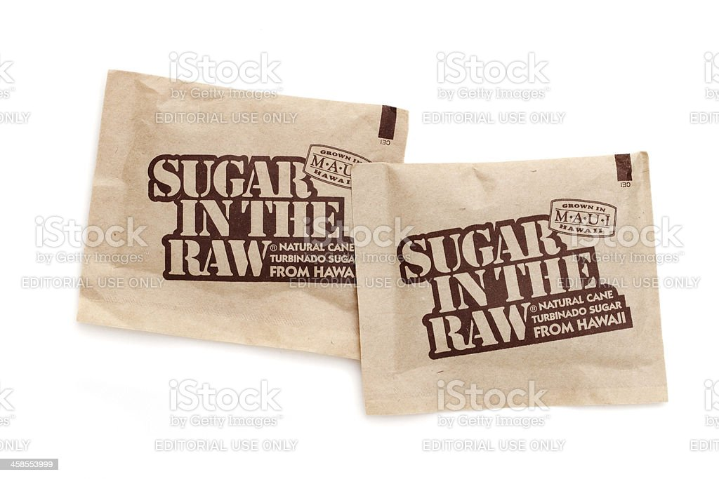 Sugar in the Raw packets stock photo