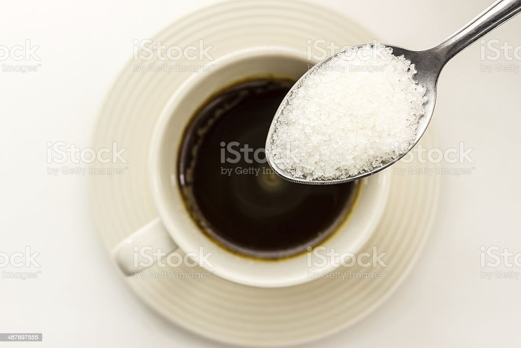 Sugar in the spoon. stock photo