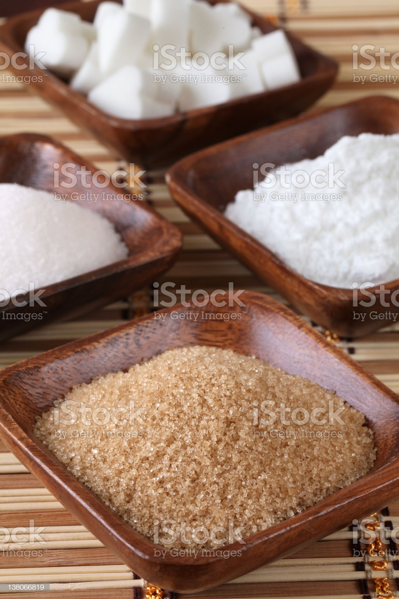 Sugar in wooden bowls royalty-free stock photo