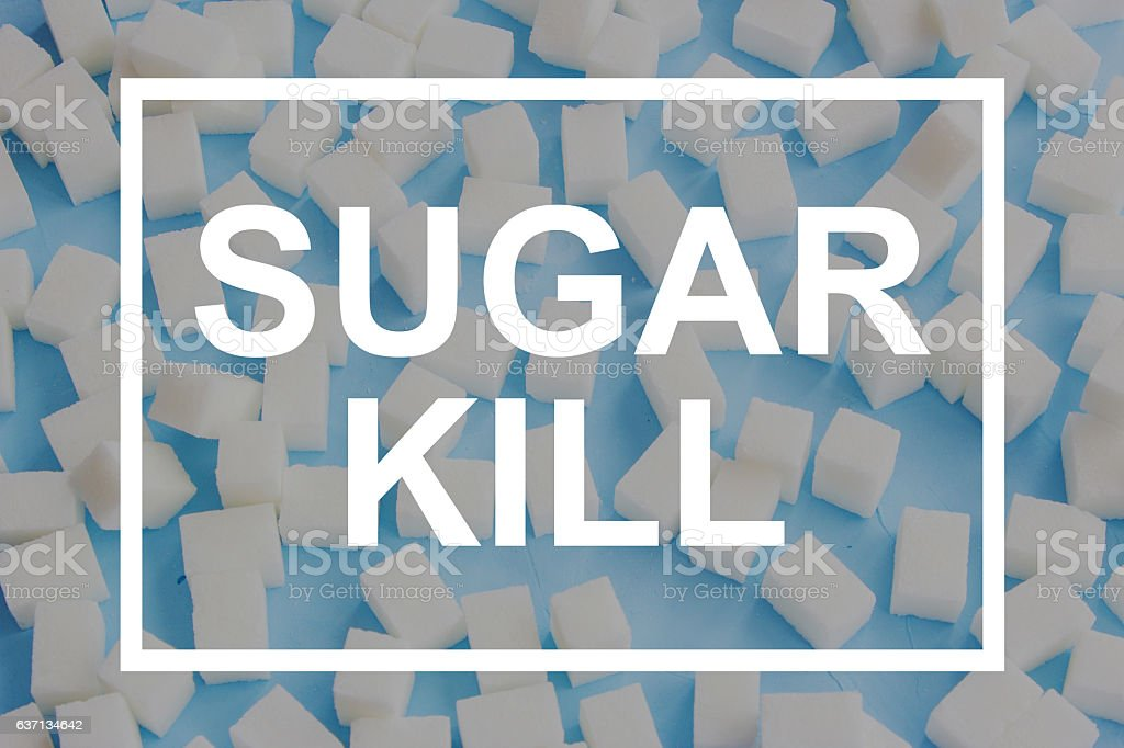 Sugar kill cubes frame words on blue background stock photo