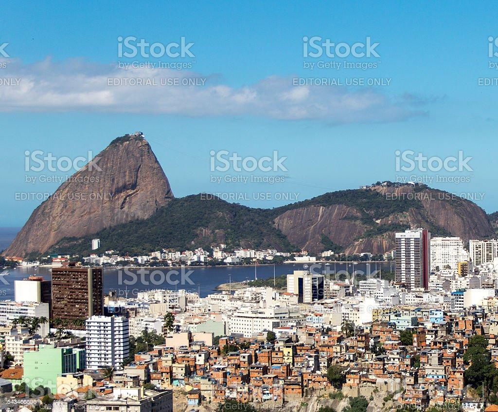 Sugar Loaf and social inequality. Rio de Janeiro stock photo