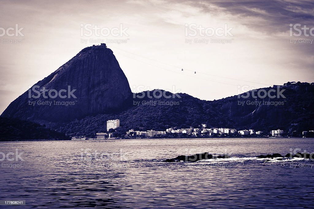 Sugar Loaf from a boat at Baia de Guanabara royalty-free stock photo