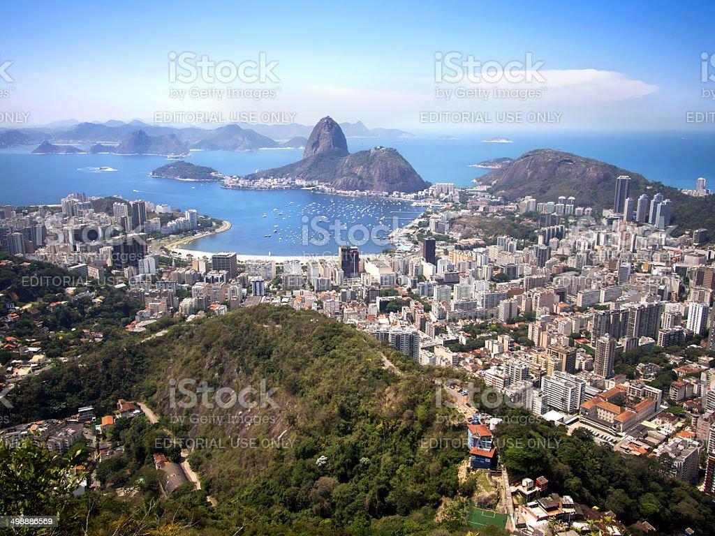 Sugar Loaf Mountain and the Rio de Janeiro Cityscape, Brazil stock photo