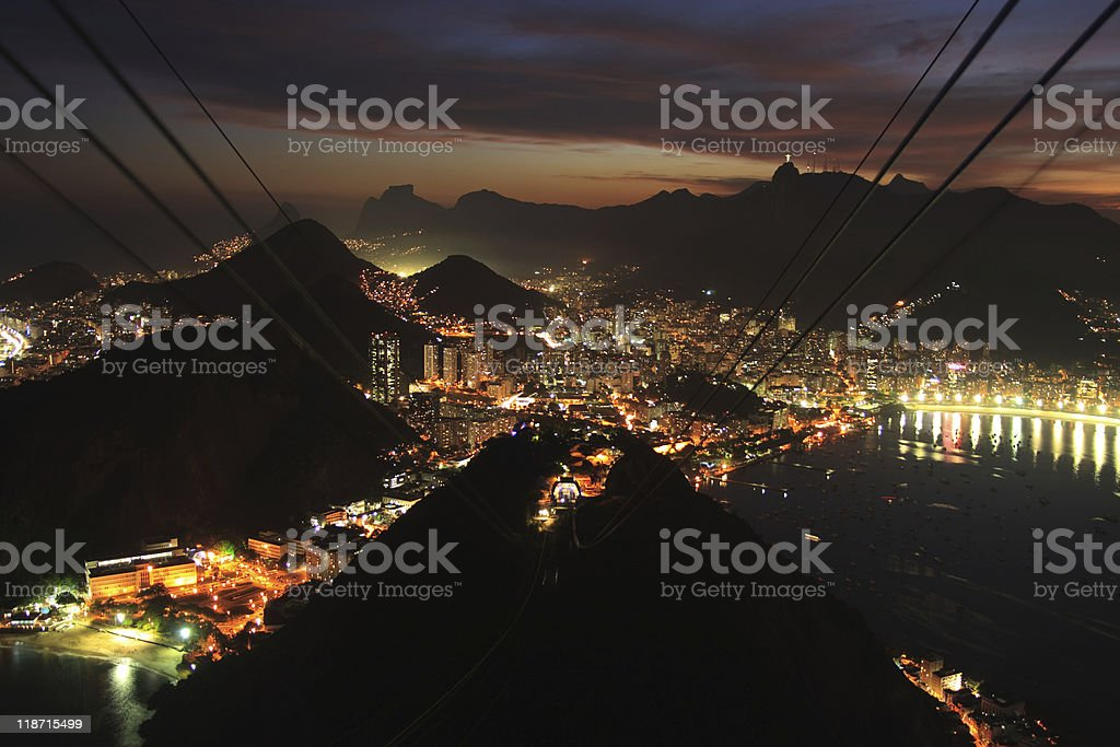 Sugar Loaf mountain gondola at sunset royalty-free stock photo