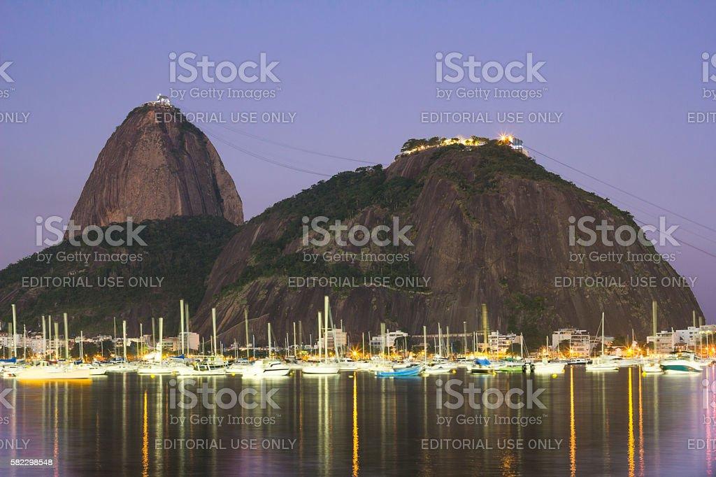 Sugar loaf Mountain in Rio de Janeiro at night stock photo