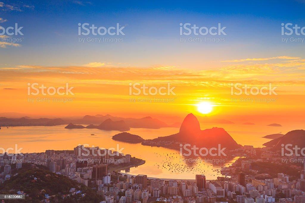 Sugar Loaf on the Sunrise in Rio de Janeiro stock photo