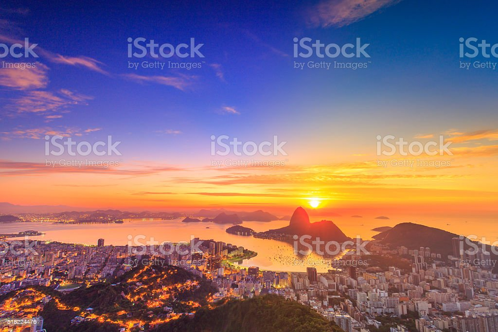 Sugar Loaf on the Sunrise in Rio de Janeiro stock photo