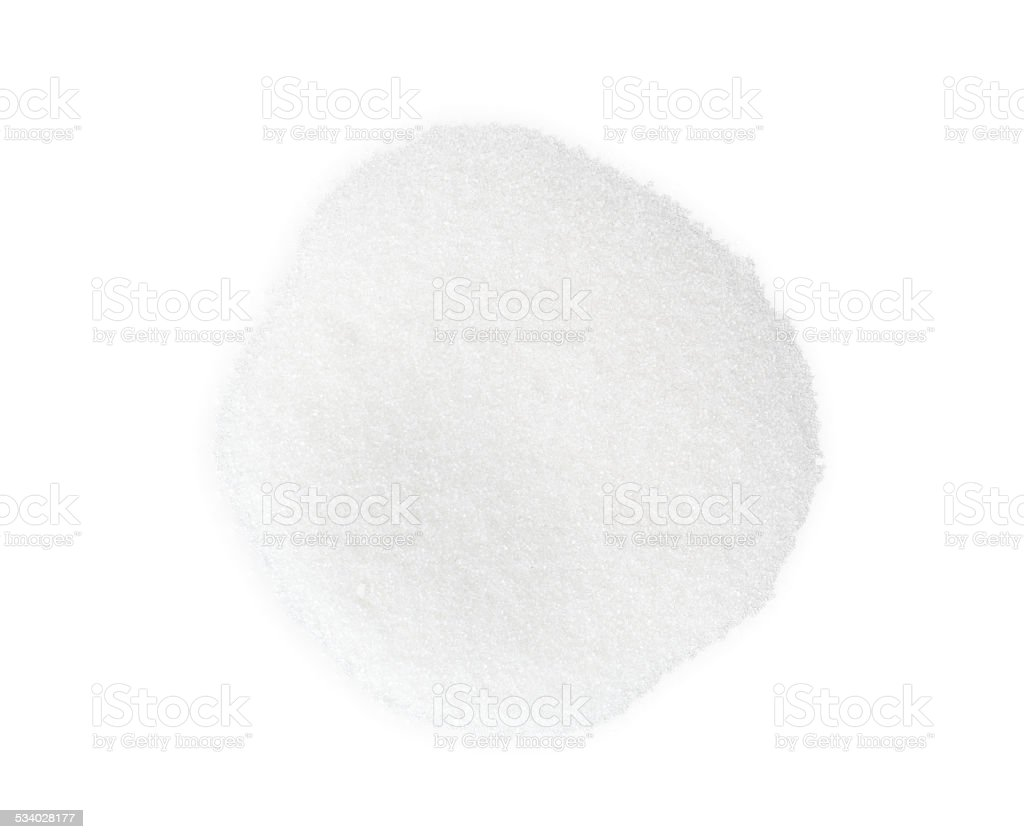 Sugar on white background stock photo