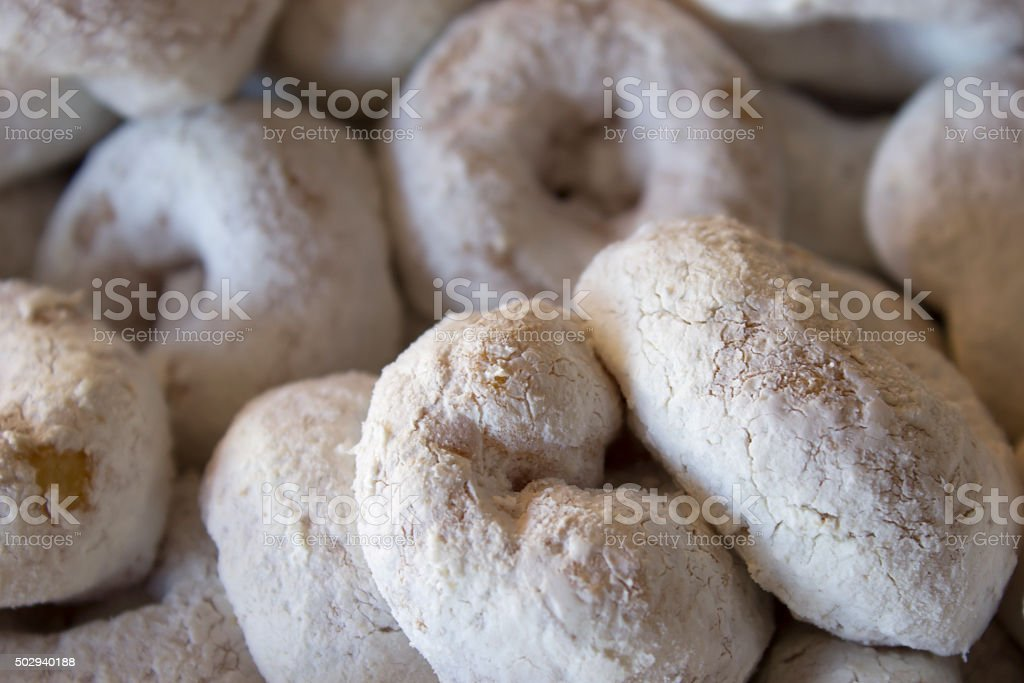 Sugar powdered donuts stock photo