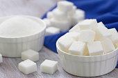 Sugar refined in white bowl