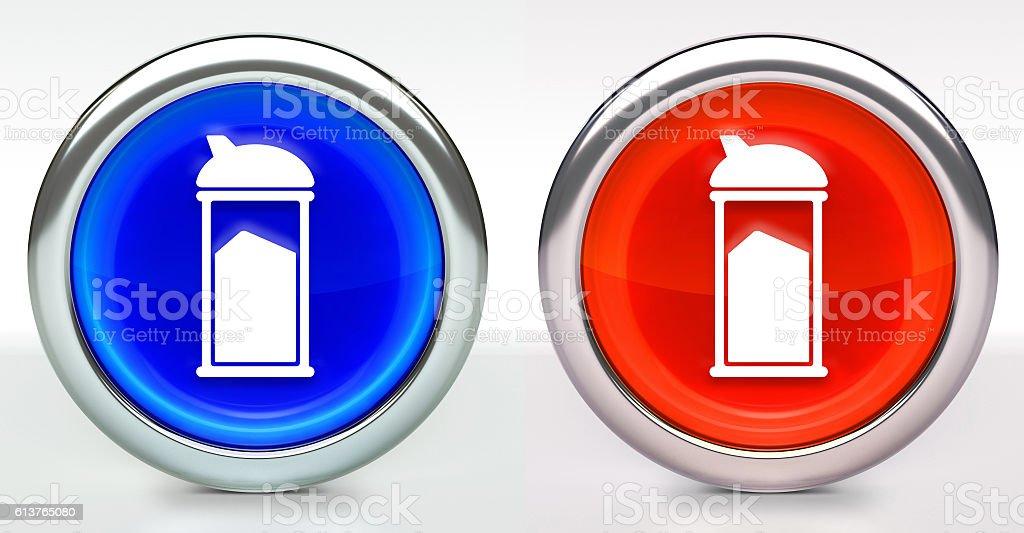Sugar Shaker Icon on Button with Metallic Rim stock photo