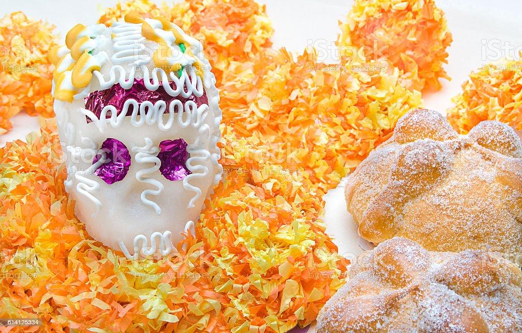 Sugar skull altar for 'dia de los muertos' celebration stock photo