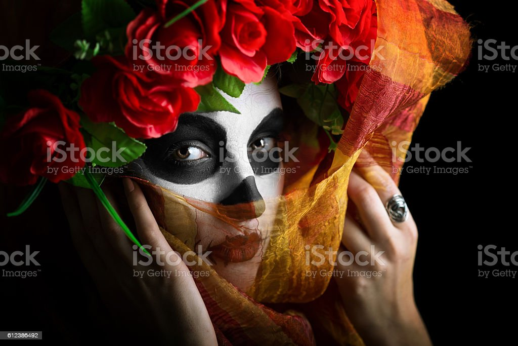 Sugar skull bride stock photo