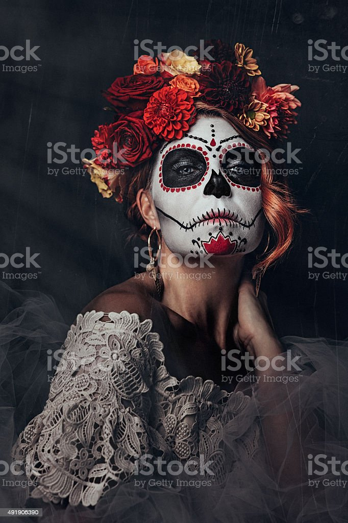 Sugar skull creative make up for halloween stock photo