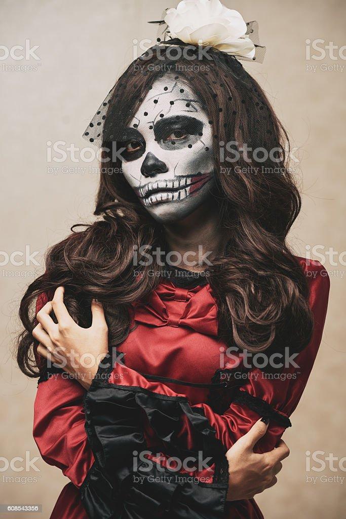 Sugar skull girl stock photo