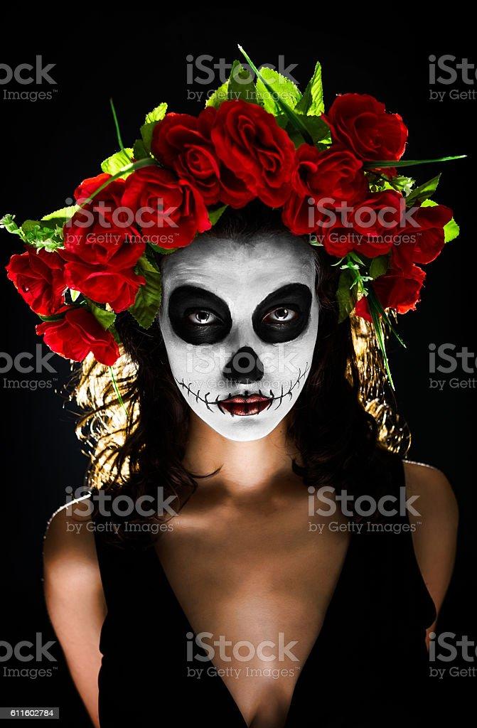 Sugar skull makeup stock photo