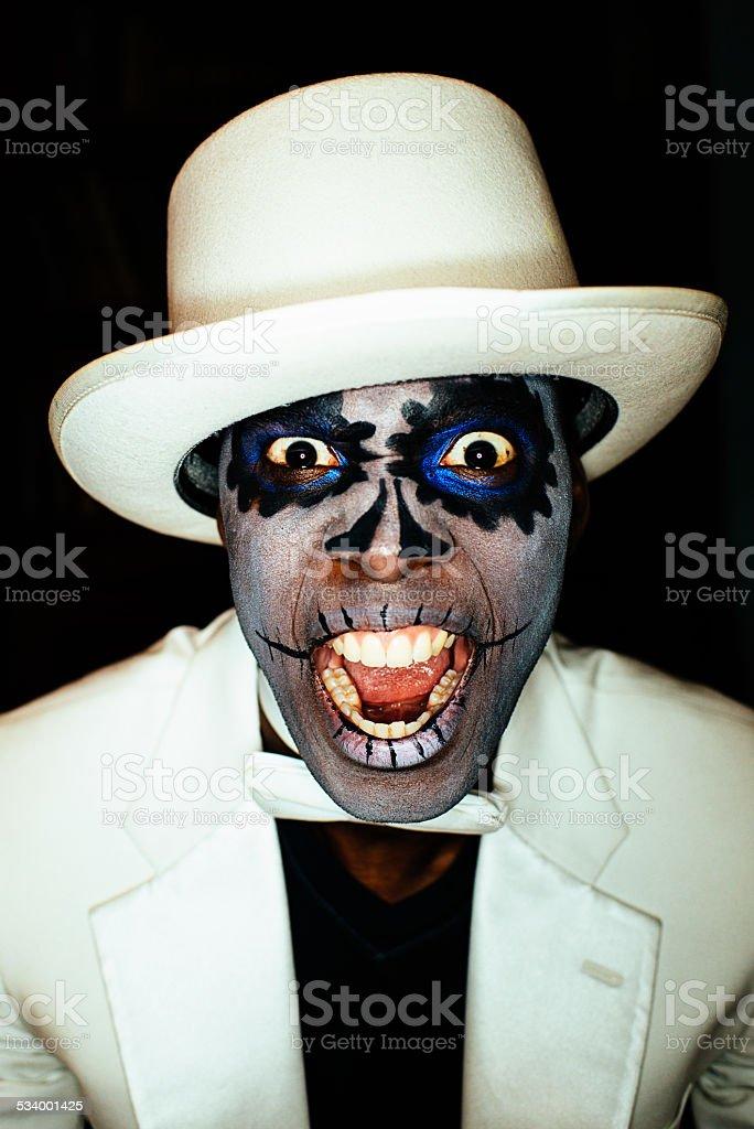 Sugar Skull Voodoo Screaming Man Portrait stock photo