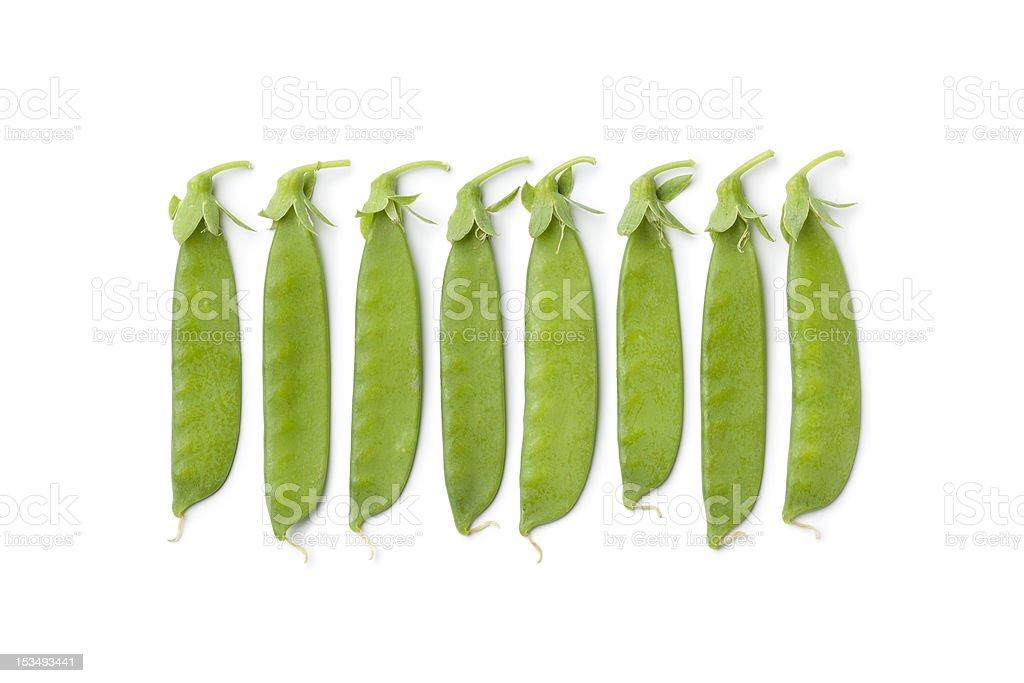 Sugar snap peas in a row stock photo