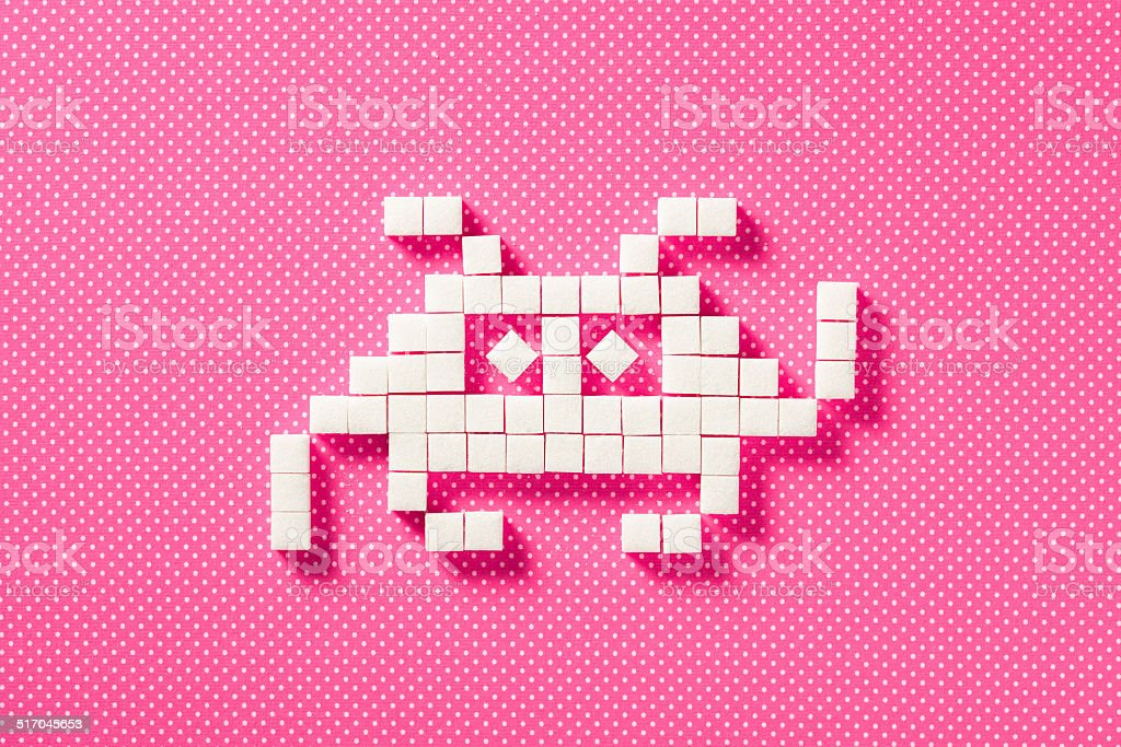 Sugar Space Ship - Ship Cube Pixelated Pink Background Arcade stock photo
