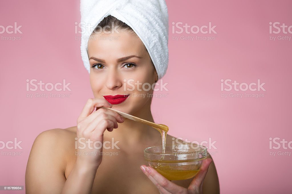 Sugaring beauty treatment stock photo