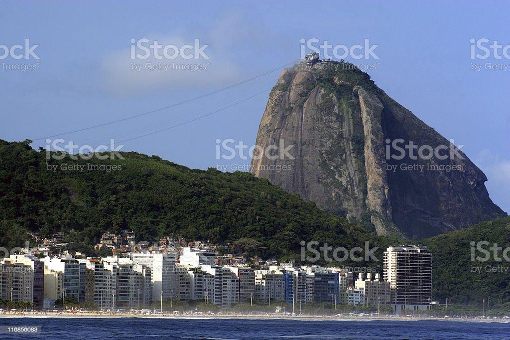 Sugarloaf and Copacabana beach royalty-free stock photo